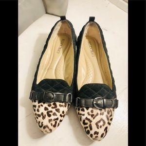 Ellen Tracy genuine leather leopard print flats